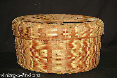 Old Vintage Hand Woven Large Sewing Storage Basket w Lid Container Rustic Decor