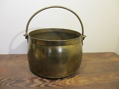 Extra Heavy Large Vintage Brass Jam Pot Log Bin Planter Real Age Lovely