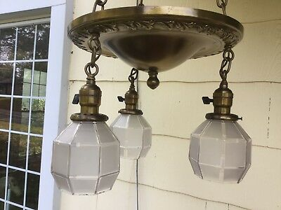 Lovely Antique Solid Brass Chandelier Ceiling Fixture Floral Pattern Rewired