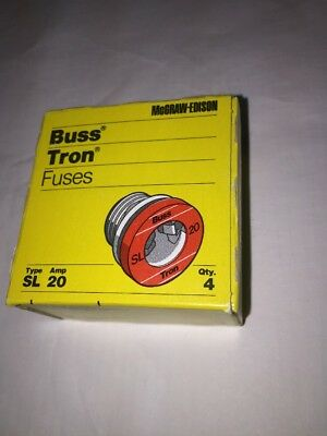 Vintage Bussmann Buss Type S, SL 20 Amp TimeDelay Fuse; Tamper-Proof Base; Qty=4
