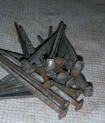 "2 1/4"" Rose head nails 20 in lot square wrought iron antique rustic vintage look"