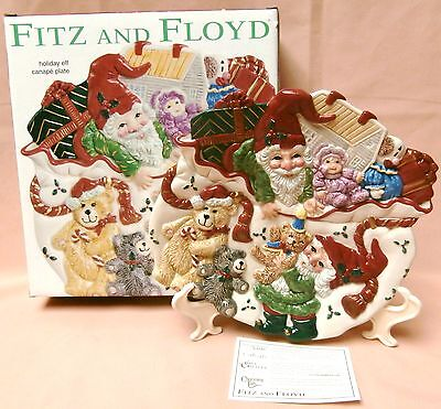 NIB Fitz & Floyd Christmas canape plate Holiday Elf W Teddy bears & baby doll