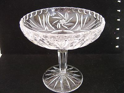 Vintage Pressed And Cut Glass Small Compote Dish