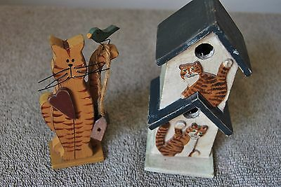 2 Piece Handcrafted Whimsical Wood Cat  & Birdhouse