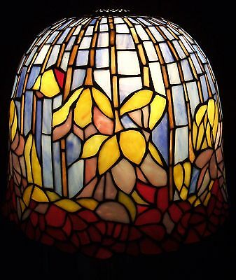 ***** Vintage Tiffany Style Stained Glass Lamp Shade Pond Lily Lotus *****