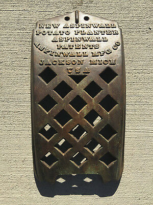 "V. Rare Vintage ASPINWALL POTATO PLANTER Cast Iron Embossed Name Plate 16""x8"""
