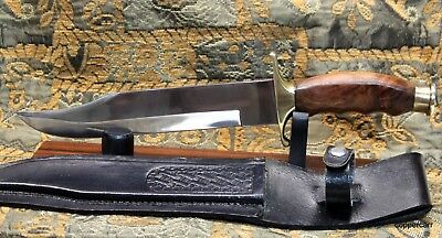 Vintage Bowie Knife Beautiful Hand Carved Wood+ Brass with Sheath + Stand  12.5""