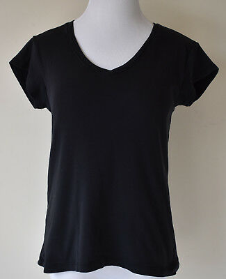 Women's Size Medium M Motherhood Nursingwear Black Cotton Double Layer Top