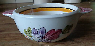 Youen signed peint main Bretagne floral bowl hand painted vintage French