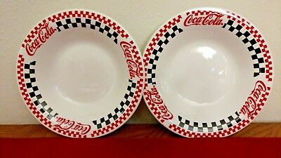 """Set of 2 Gibson Coca-Cola Bowls 8"""" Red and Black Checkered Flag print Vintage"""