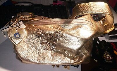 Rare New With Tags Disney 50Th Anniversary Mickey Mouse Gold Bag Purse