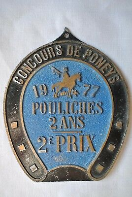Vintage 1977 French Equestrian Pony Horse Filly Prize Medal Plaque Award Trophy