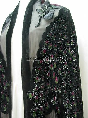 BLACK Silk Blend Peacock shawl Victorian style with olive green and Rose