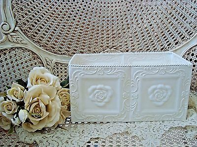 Smaller Rectangle Shabby French Chic Painted Metal Tin Rose Planter **fabulous**
