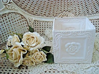 Square Shabby French Chic Painted Metal Tin Rose Planter ***awesome***