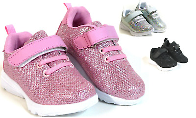 New Baby Toddler And Youth Kids Glittery Shoes Elastic Lace Loop Strap Athletic