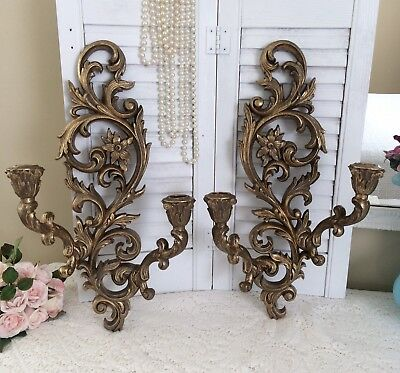 Vtg Gold WALL SCONCES Double Arm Hollywood Regency Ornate Syroco CANDLE HOLDERS