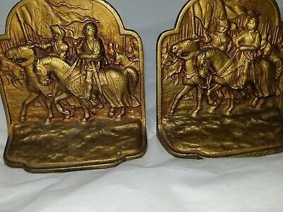 """Antique brass bookends Heavy 5 1/2"""" x 5 1/2"""" signed or marked """"NO 300"""" read desc"""