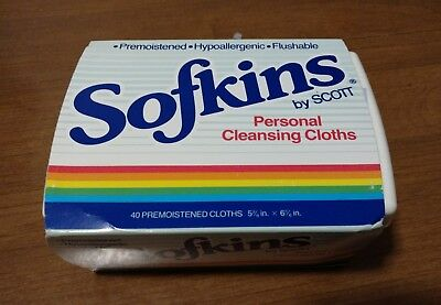 Vintage Rare 1988 Softkins by Scott Personal Cleansing Cloths 40 count