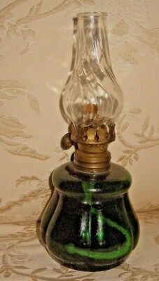 "1930 MINIATURE  6 7/8""  APPLE GREEN Glass PANELED BASE,SWIRL CHIMNEY  Oil Lamp"