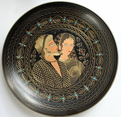 Antique Persian Enamel Metal Etched Bowl Man Woman Large Middle East Tray