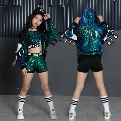 Girls Sequin Jazz Hip Hop Dance Costumes Dancing Tops Shorts Loose Coat Clothing