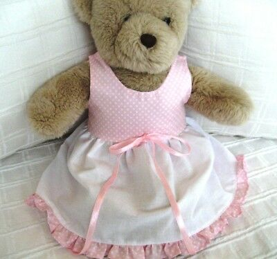 Teddy Bear Clothes, Handmade Tessa Pale Pink and White Cotton Dress