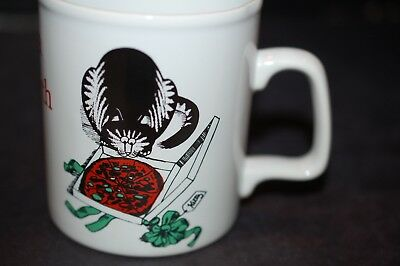 Kliban Cat Mug Pizza On Earth Staffordshire England Vintage Christmas