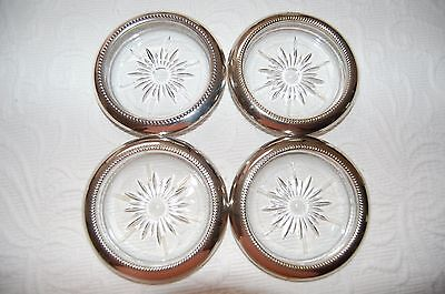 Set of 4 Leonard Silver Plate Crystal Glass Coasters Made In Italy Nice Vintage