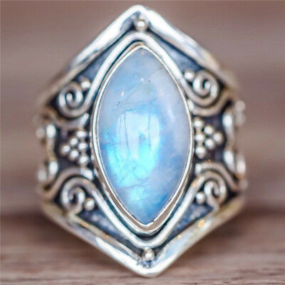 Natural Moonstone 925 Silver Ring Men Women Jewelry Gemstone Wedding Size 6-10