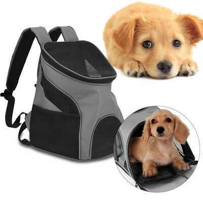 Portable Dog Cat Puppy Pet Mesh Travel Carrier Tote Shoulder Bag Backpack Gray