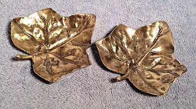 2 Vtg Virginia Metalcrafters VM IVY Leaf 3-1 Brass Leaves Trinket Dish Ashtrays