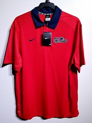a22171402 NEW $75 Nike Dri Fit Coaches Elite Ole Miss Rebels Red Polo Shirt Men's Size  XL