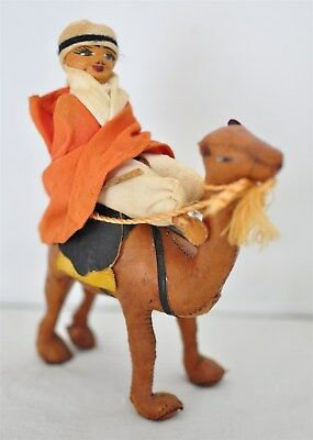 "Leather Camel Figurine with Rider ""Camel Jockey"" and Saddle"