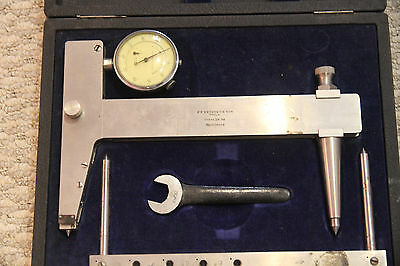 "Strain Stress Gauge set FF Metzger Son 1932 ptd 8"" bar dial micrometer Wood box"
