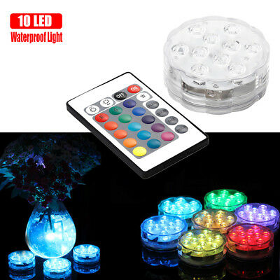 Underwater Waterproof 10 LED RGB Submersible Light Party Vase Dating Remote Lamp
