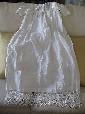 Antique Victorian Textile White Work Crochet Pin Tuck Baby Christening Gown 40""