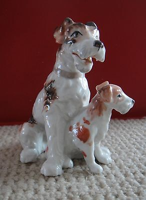 Antique German Porcelain Terrier Dogs Figurine Grouping - Father and Son