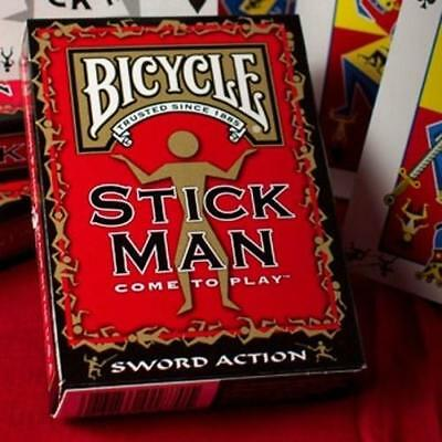 Stick Man Playing Cards Poker Deck Bicycle ~ Sword Action
