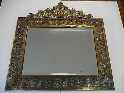 Large Antique Ornate Heavy Bevel Wall Mirror Pierced Brass Berry Vine Floral 28""