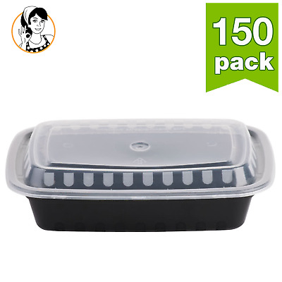150 Food Storage Meal Prep Container Take-Out Plastic Box Reusable Microwavable