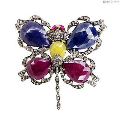 Pave Diamond Sapphire Butterfly Brooch 14K Gold Ruby Pendant .925 Silver Jewelry
