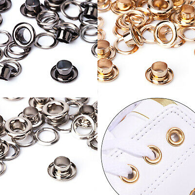 100 Eyelets Grommet Coated Brass Based Rust Proof Leather Craft Chrome Plated