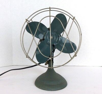 VTG 1950s Dominion Electric Fan Model 2004 #5197 Green Cast Iron One Speed WORKS