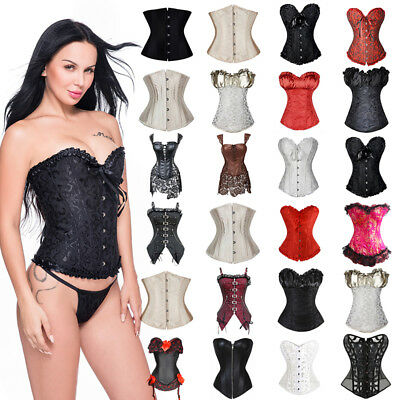 Fancy Lingerie Waist Training Boned Brocade Lace Up Corset Bustier Top Shapewear