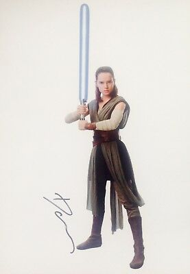Daisy Ridley Authentic Signed Star Wars 16X12 Photo Aftal#198