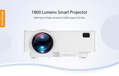Alfawise A8 1800 Lumens 1080P 4K Smart Projector Android 6.0 BT 4.0 HDMI 8GB ROM