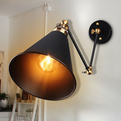 Industrial Vintage Adjustable Swing Arm Light Sconce Wall Lamp Fixture Home US