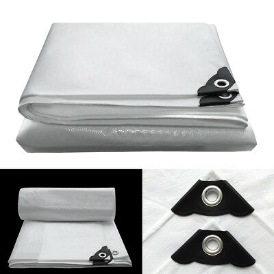 Heavy Duty Tarpaulin 200GSM Waterproof Ground Sheet Boat Car Cover Tarp White UK