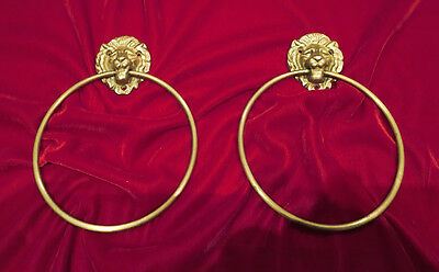 pair of Antique Brass LION HEAD hoop for bathroom towel x 2